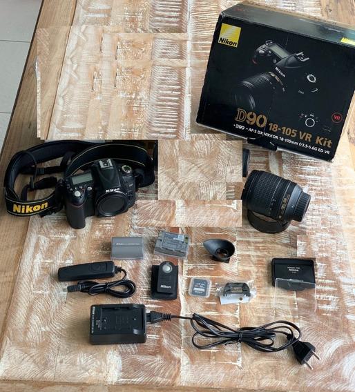 Kit Nikon D90 + Lentes 18x105 Na Caixa