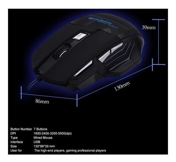 Mouse Gamer Óptico Com Fio Usb Led - Frete Grátis