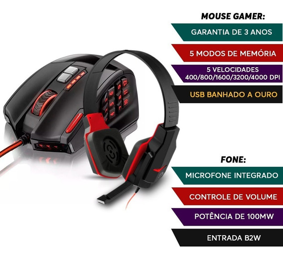 Kit Head Fone Gamer Warrior + Mouse 18 Botoes Profissional