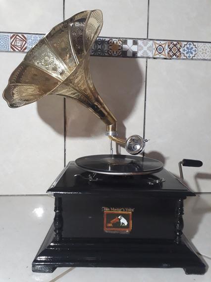 Gramofone Vitrola Corda+30agulhas+2discos Vicente Celestino