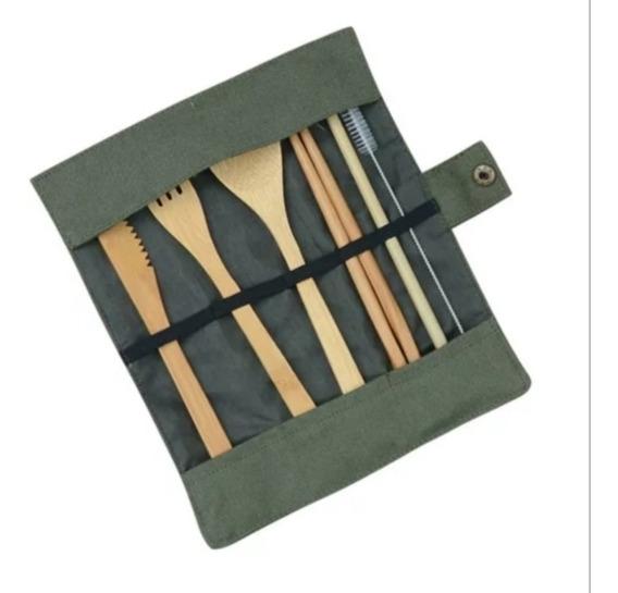 Kit De Cubiertos De Bambú Ecológicos Biodegradables C. Beige
