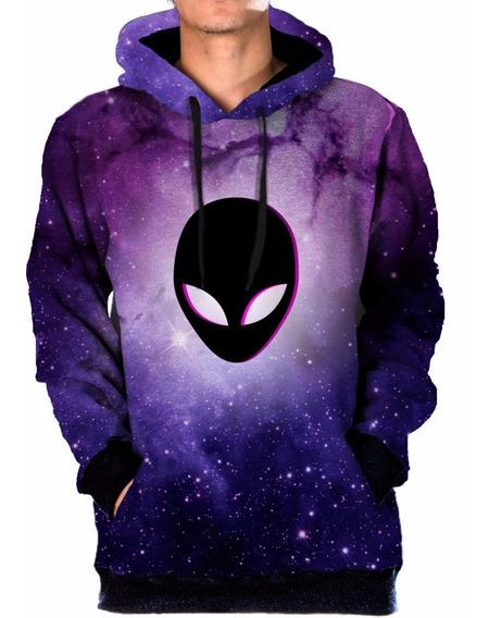 Blusa Moletom Bolso Lateral Galaxia Nebulosa Alien 3d Galaxy