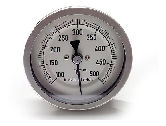 Termómetro Horno 3 PLG 100 A 500°c, Vástago 9 PLG, Rosca 1/2
