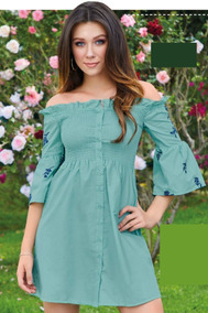 Vestido Verde C/detalles Bordados Cklass 978-17