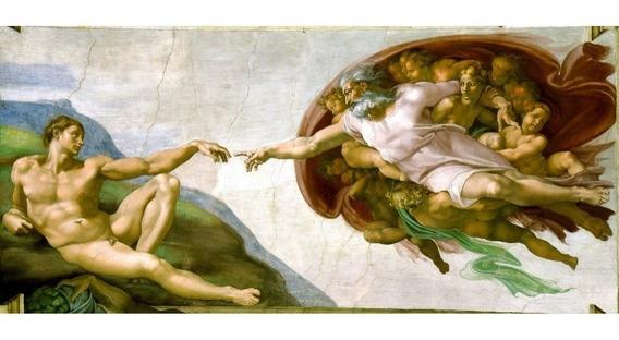 Michelangelo Gravura Hd Obra Criação Adão 50cmx110cm