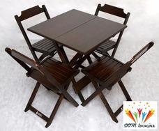 Locação De Conjuntos De Mesa E 4 Cadeiras Em Madeira