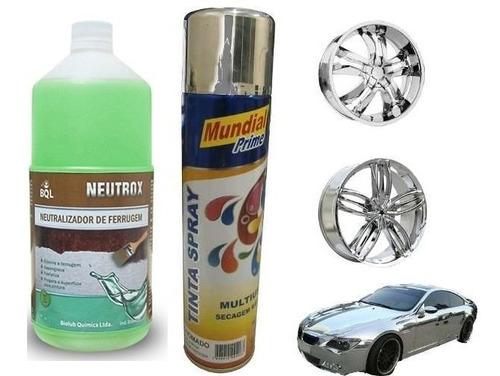 Kit Tinta Spray Cromado Automotiva + Neutralizador Ferrugem