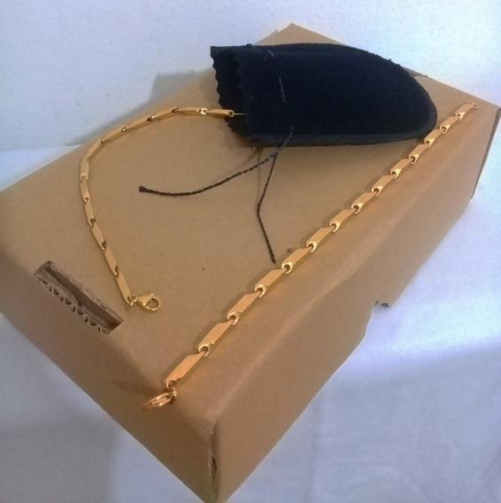 Kit Corrente E Pulseira Banhada A Ouro 18k Com Brinde