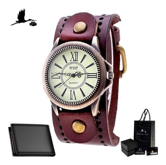 Relógio Masculino De Couro Moda Casio Romanos + Carteira