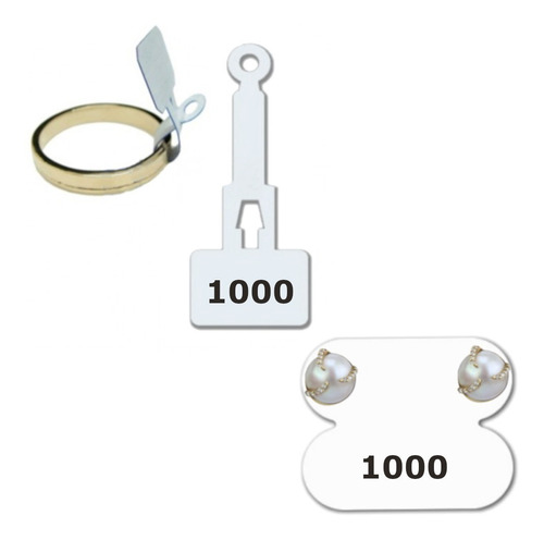 1000 Etiquetas Para Brinco + 1000 Etiquetas Para Anel