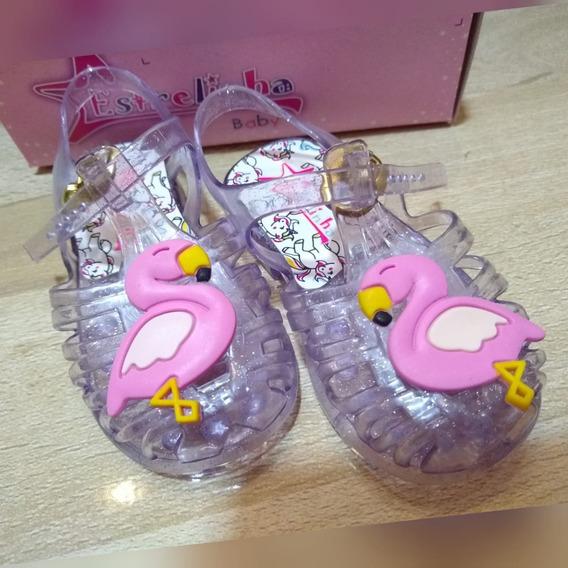 Sandalinha Baby Infantil Rosa Gliter E Cristal Gliter