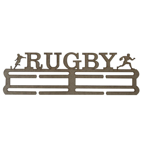 Quadro Decorativo Porta Medalhas Mdf Cru 39x12 Rugby