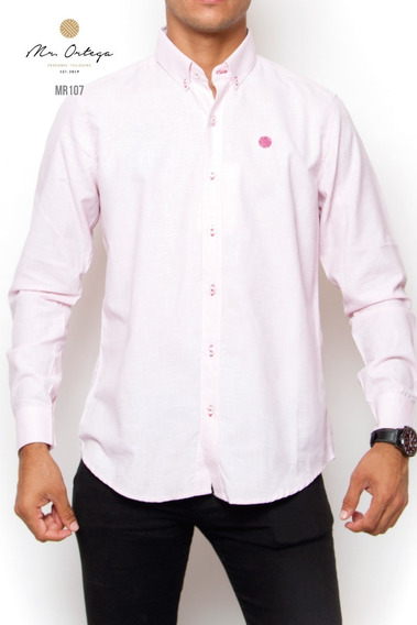 Camisa Mr. Ortega Caballero Algodón Rosa Lisa Mr.107