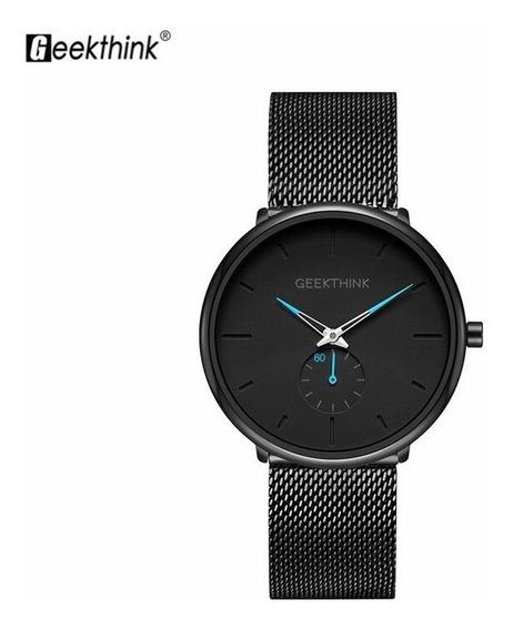 Relógio Masculino Ultra Fino Geekthink Original De Aço Inox