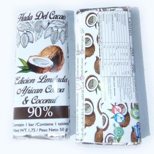 Imagen 1 de 3 de Tableta De Chocolate 90% Cacao Africano Con Coco . Edicion L