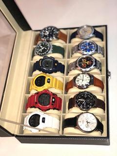 Caja Organizadora De Relojes 12 Unidades ,en Cuero Y Amplia