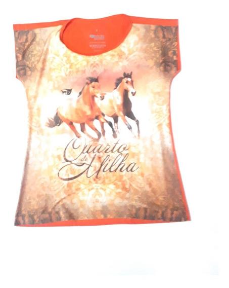 Camisa De Malha Feminina Abqm Country Manga Curta Cavalos