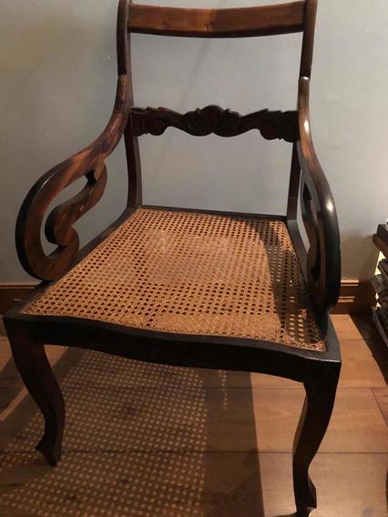 Antiga Cadeira / Poltrona Em Jacarandá E Palha Natural