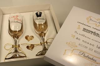 Casamento Convite Padrinhos Histórias Com 2 Taças Vidro 2 Un