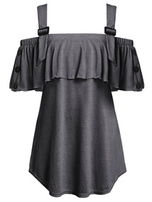 Blusas De Manga Curta Ombro Frio Para Senhora L-5xl