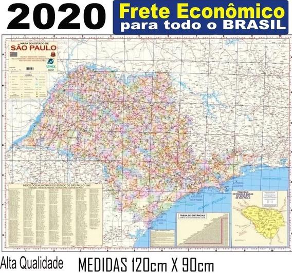 Mapa Do Estado Sao Paulo 120cm X 90cm Enrolado Frete R$ 20