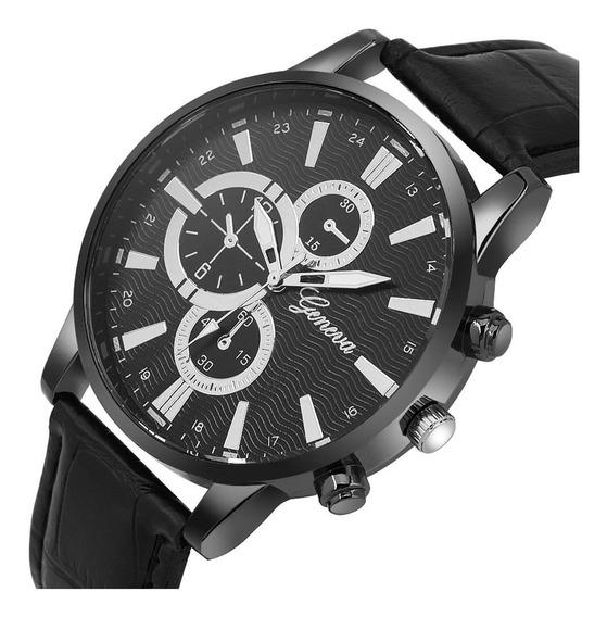 Relógio Masculino Preto Geneva Original Quartzo Top