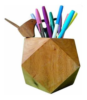 Lapicero De Cedro Artesanal En Forma Geométrica Envió Gratis