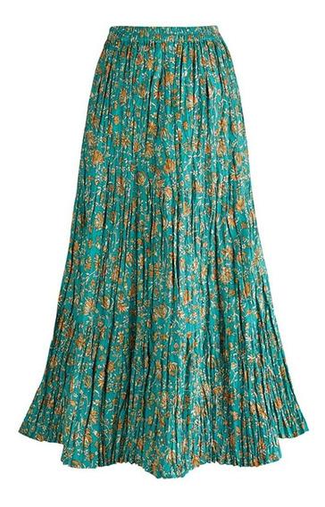 Falda Campesina Larga Reversible Para Mujer - Boho Floral