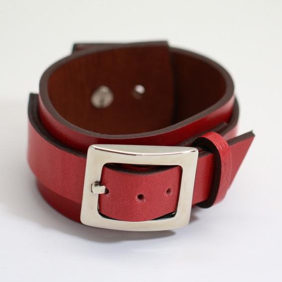 Pulseira De Couro Feminina Vermelha Bracelete Fivela Aço Top