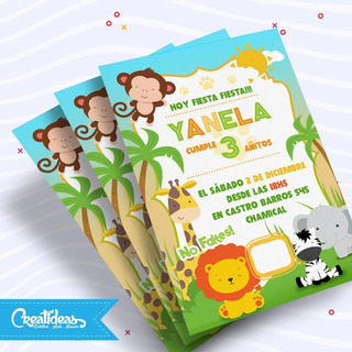 Animalitos De Selva Tarjetas Invitaciones Personalizadas