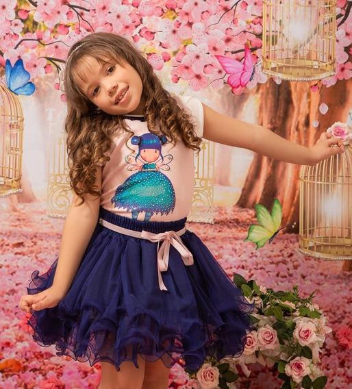 Conjunto Blusa E Saia Roupa Infantil Festa Babado