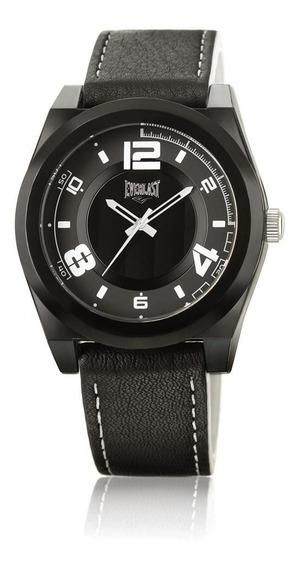 Relógio Pulso Everlast Unissex Couro Mostrador Preto E372