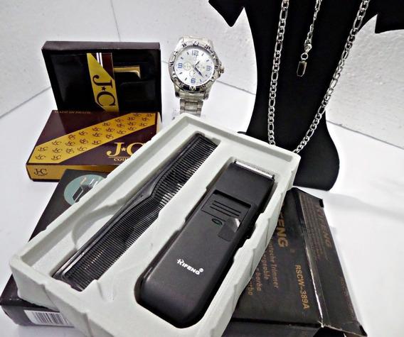 Kit Relógio Masculino Carteira+correntinha+barbeado Atacado