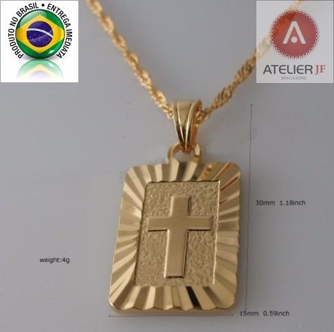 Corrente Cordão Trançado Crucifixo Jesus 2 Banhos Ouro 18k