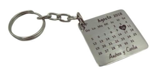 Imagen 1 de 2 de Dos Llaveros Calendario Aniversario Novios Personalizados Acero Inox Grabado Láser