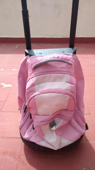 Usado-mochila Con Carrito Samsonite Con Poco Uso!!