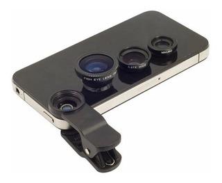 Kit Lentes Celular Fisheye Macro Wide iPhone Samsung Lg Moto