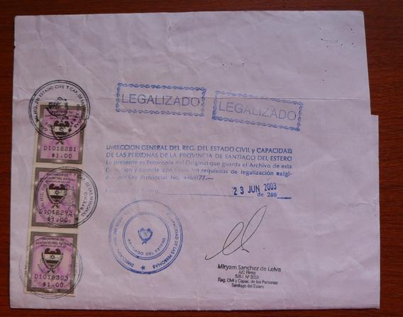 Papel De Santiago Del Estero 2003 - Estampilla Fiscal