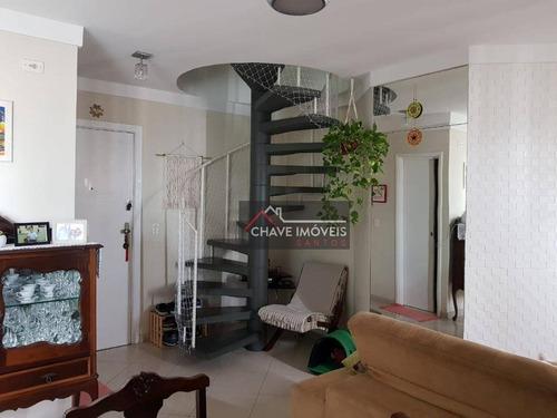 Imagem 1 de 26 de Cobertura Com 2 Dormitórios À Venda, 111 M² Por R$ 532.000,00 - Aparecida - Santos/sp - Co0058