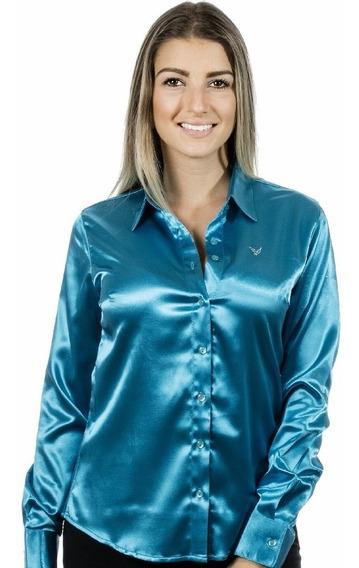 Camisa Social Plus Size Iasmin Cetim C/ Elastano Camisete