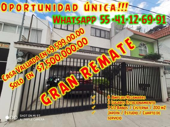 Casa En Remate De 6 Rec, 3 Bañ, Estudio Jardín Servicio