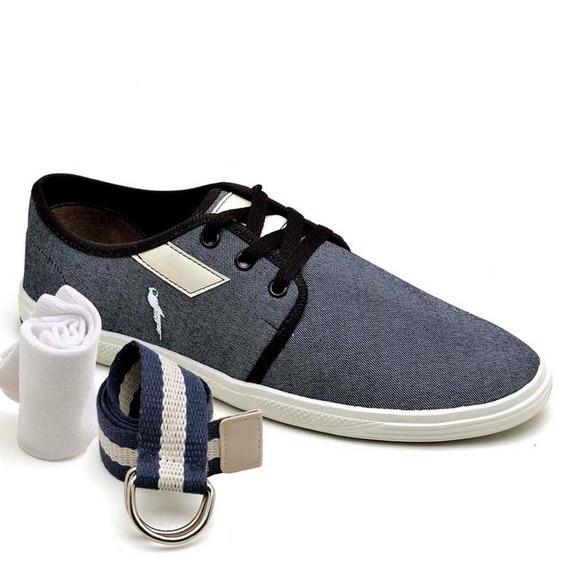 Sapatenis Kit Cinto E Meia Blu Polo Sapato Barato 200