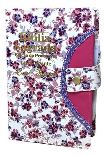 Bíblia Sagrada Gigante - Botão - Floral Branco - C/ Harpa