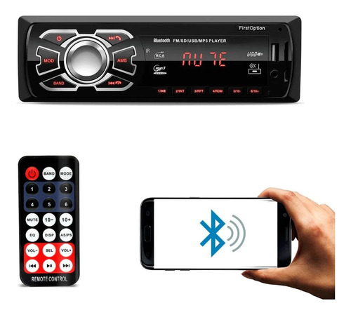 Imagem 1 de 4 de Aparelho Auto Radio Automotivo Som Universal 1 Din Bluetooth