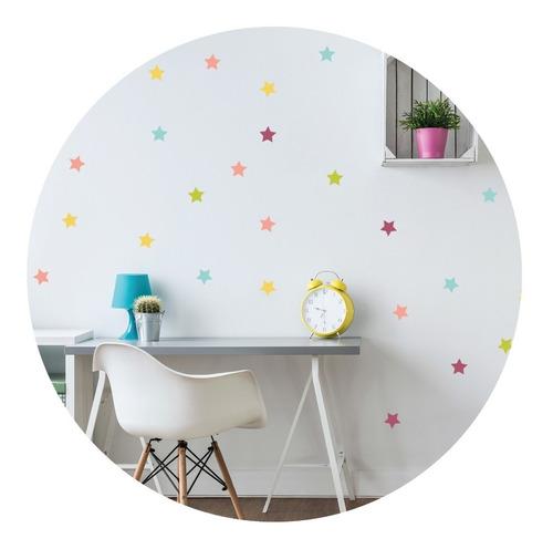 Imagem 1 de 4 de Adesivo De Parede Infantil Estrelas Coloridas 150un