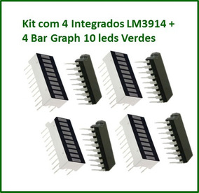 Kit Com 4 Integrados Lm3914 + 4 Bar Graph Cor Verde