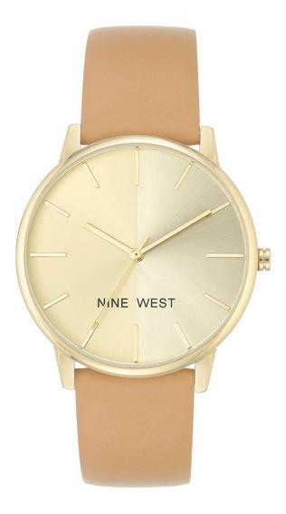 Reloj Nine West Mujer Color Camel De Piel -original-