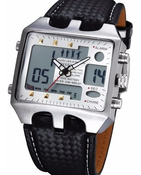 Relógio Masculino Pulso Ohsen Led Xmas Digital Anal Branco