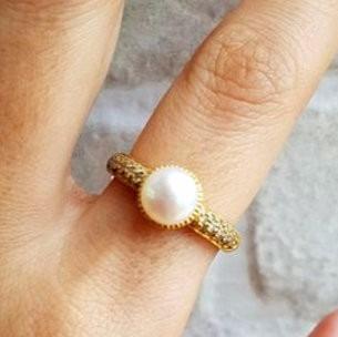 Anel Pérola Com Diamantes Ouro 18k Naturais