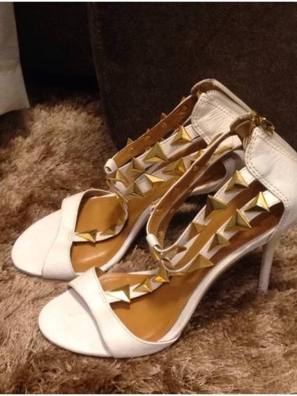 Sandália Branca Com Dourada A Vida